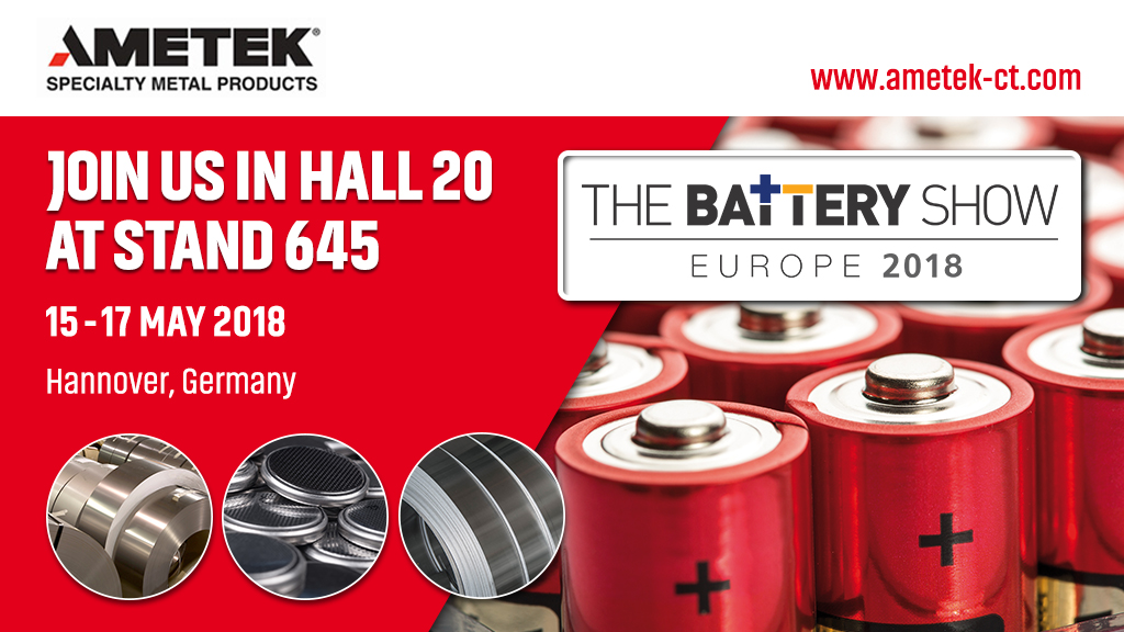 AMETEK Specialty Metal Products presents High-Purity Nickel Strip for critical battery applications at The Battery Show Europe