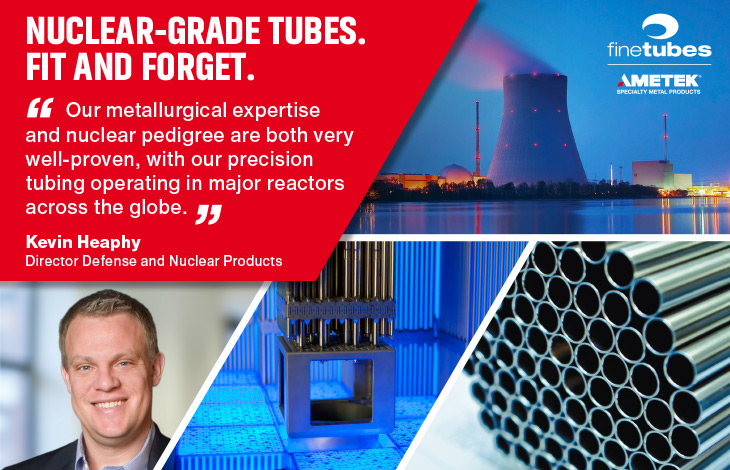 high-performance tubes in stainless steel, titanium, zirconium, and nickel alloys for nuclear power generation
