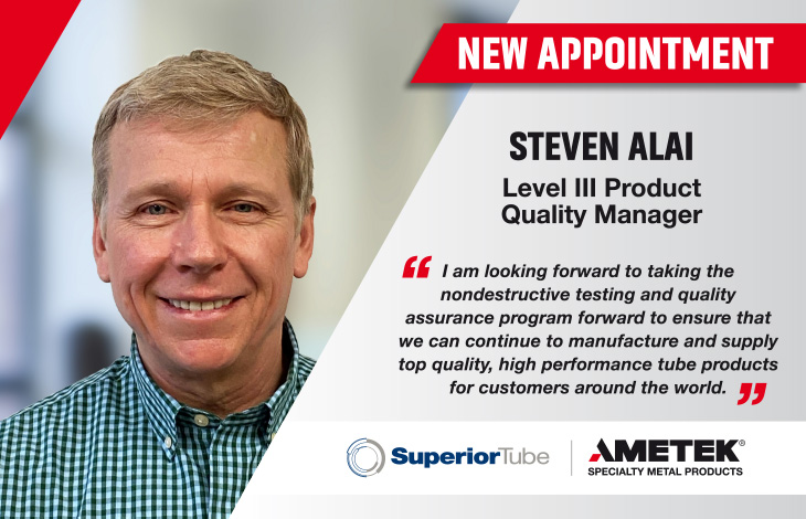 Steven Alai appointed as Level III Product Quality Manager at Superior Tube, Collegeville in USA